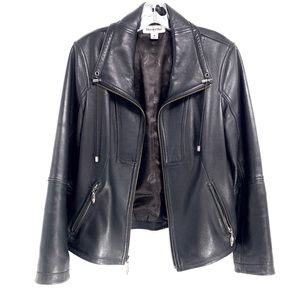 Preston & York Leather Black Moto Jacket Medium